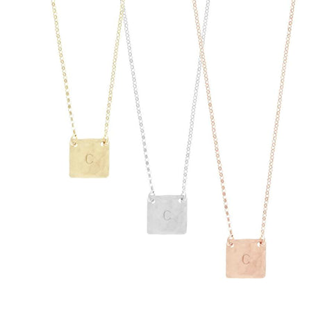 The Lia - Square Initial Necklace - Gold, Silver, Rose Gold >>