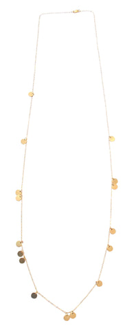 The Neva Long Mini Disc Necklace in Gold, Silver, Rose