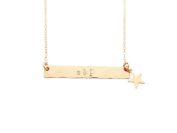 The Romy I.D. Bar Necklace with Star or Heart Gold
