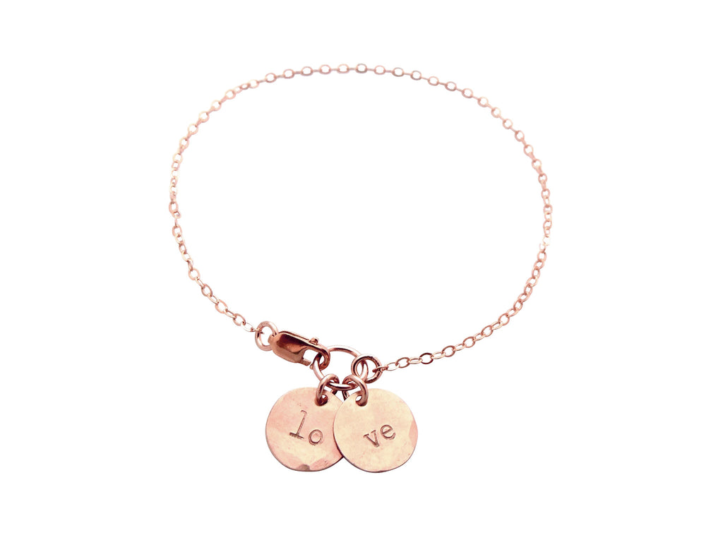 The Saskia Bracelet Double Mini Initial Rose Gold Bracelet