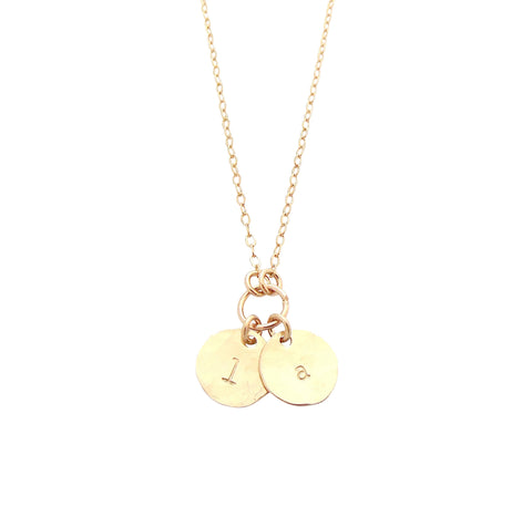 The Saskia Necklace - Double Mini Initial Necklace - Gold, Silver, Rose Gold >>
