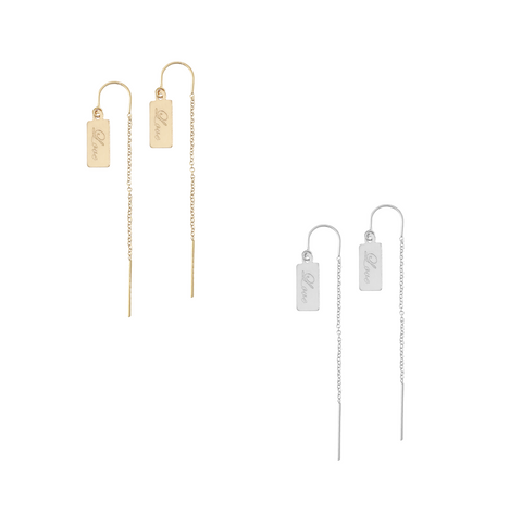 Ear Threads with Love Bar - Gold or silver >>