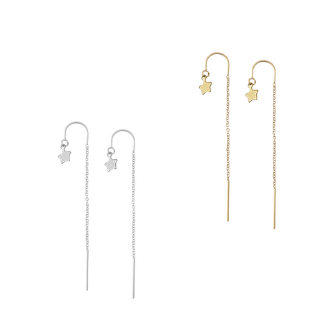 Ear Threads with Mini Star in Gold or Silver