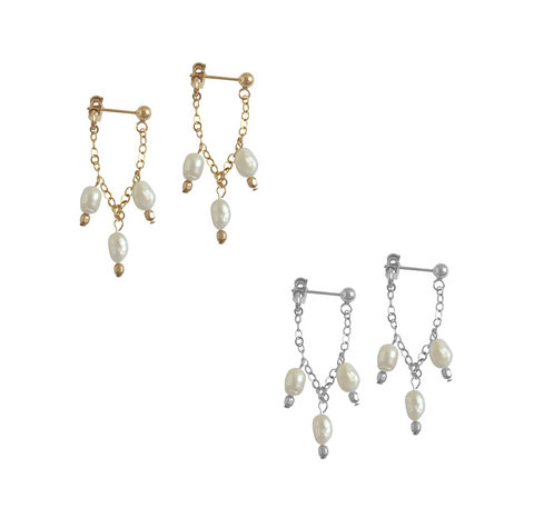 Triple Pearl drop earring - Gold, Silver >>