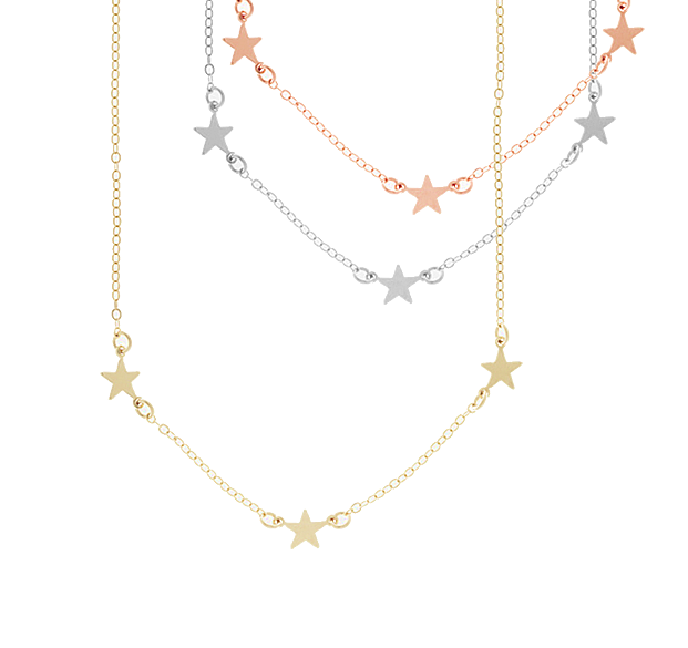 Triple Star Necklace - Gold, Silver, Rose Gold >>