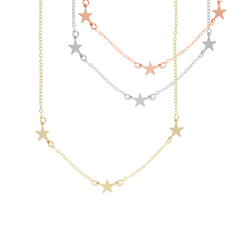 Triple Star Necklace in Gold, Silver, Rose Gold