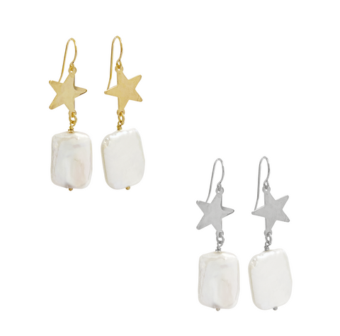 Tropic Star and Pearl Earring - Gold, Silver >>