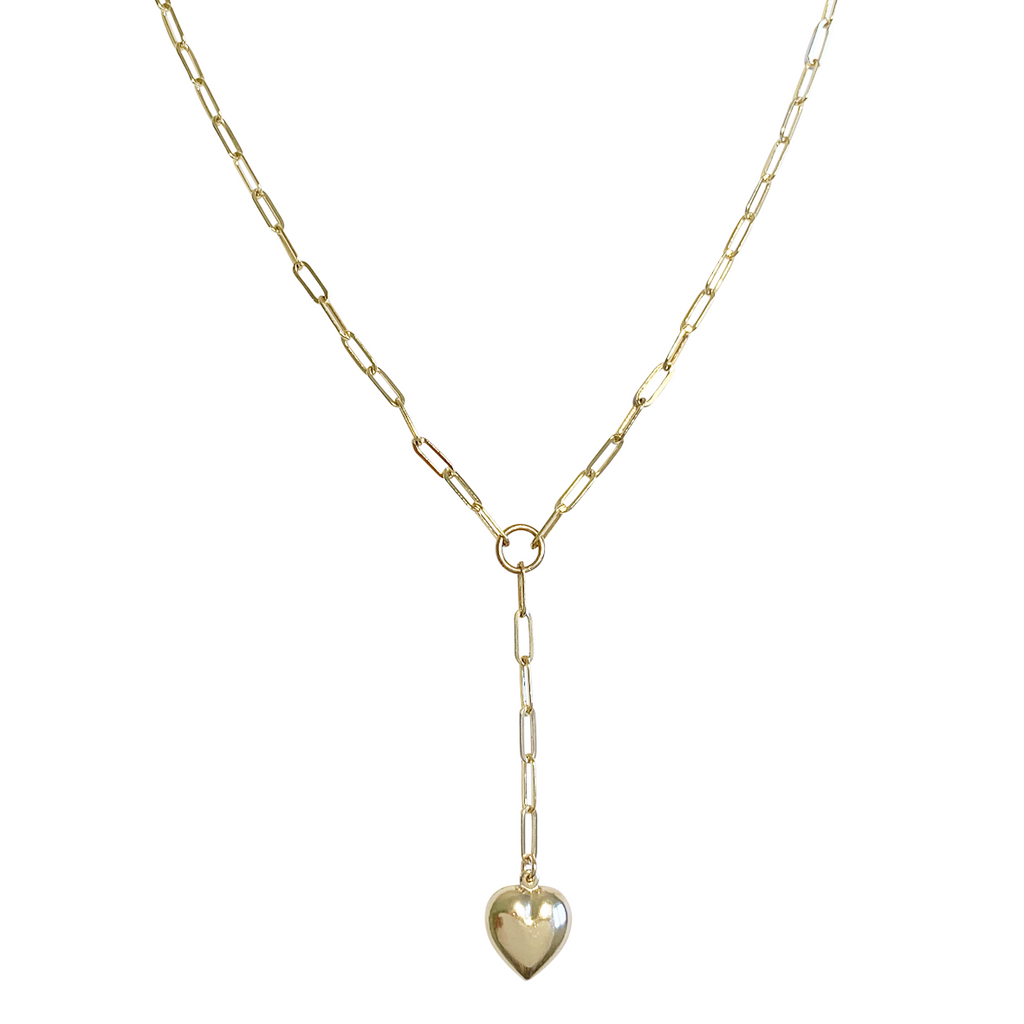 Venus Puff Heart Lariat Necklace in Gold, Silver