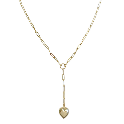 Venus Puff Heart Lariat Necklace - Gold, Silver >>