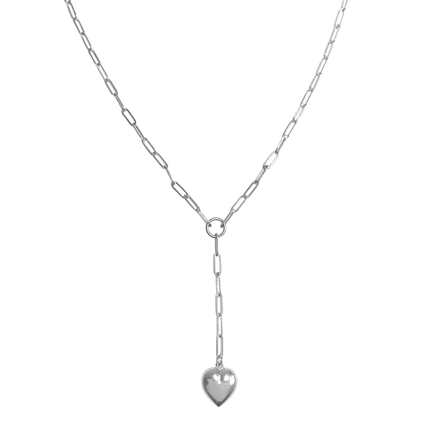 Venus Puff Heart Lariat Necklace in Silver