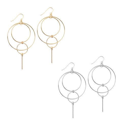 The Wella - Multi ring and bar earring - Gold, Silver >>