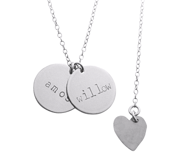Double Disc Name Necklace in Silver