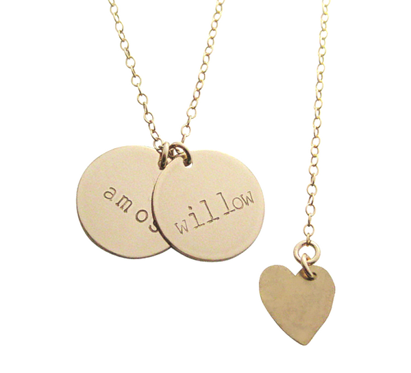 The Willow - Double Disc Name Necklace - Gold, Silver, Rose Gold >>