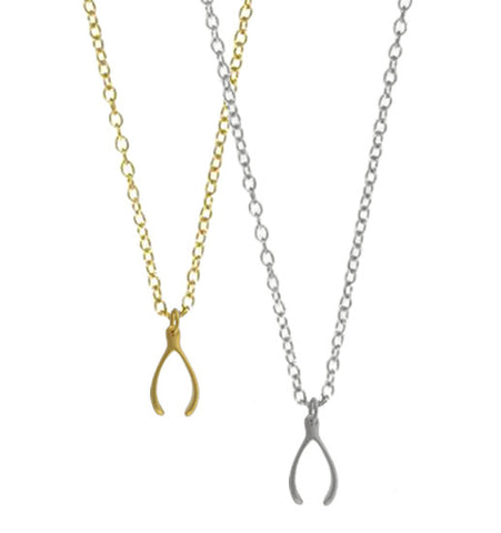 """Make a Wish"" Wishbone Necklace - Gold, Silver >>"
