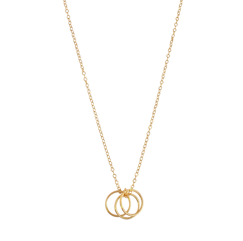 The Yana - Chain with 3 Rings Necklace- Gold, Silver >>