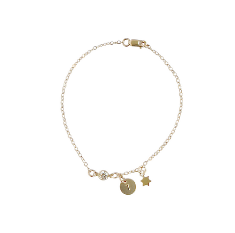 The Zara - Crystal Tiny Disc and Star Bracelet - Gold, Silver, Rose Gold >>