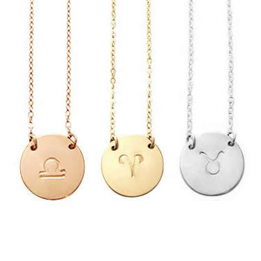 Zodiac Disc necklace - Gold, Silver, Rose Gold >>