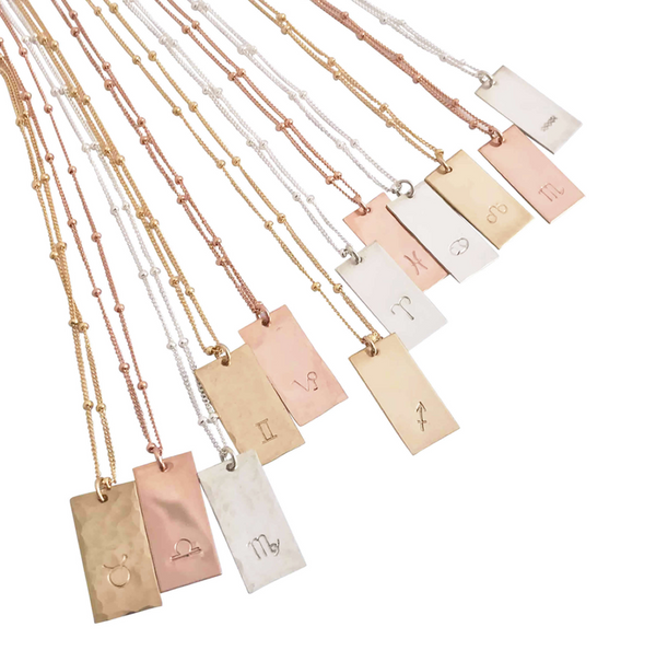 Zodiac Tag necklace - Gold, Silver, Rose Gold >>