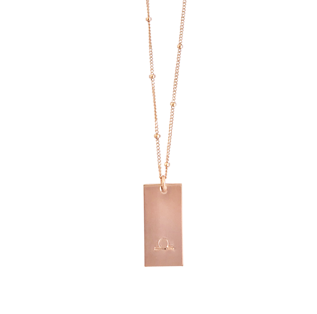 Zodiac Tag Necklace - LIBRA- Sep 24 - Oct 23 - Gold, Silver, Rose Gold