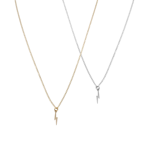 The Zoey- Mini Lightening Bolt Necklace - Gold, Silver >>