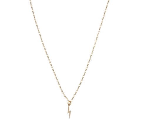 The Zoey Mini Lightening Bolt Necklace in Gold