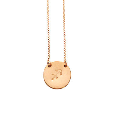Zodiac Necklace - SAGITTARIUS - Nov 23 - Dec 21 - Gold, Silver, Rose Gold >>