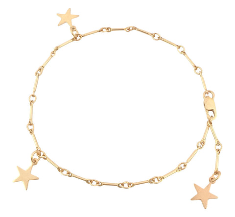 The Amber Bracelet- 3 Star Bracelet on Bar Chain - Gold, Silver >>