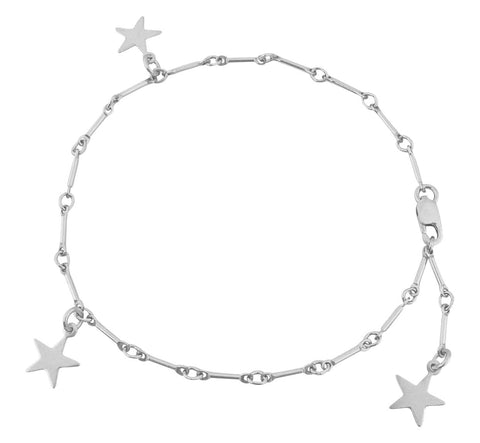 The Amber 3 Star on Bar Bracelet in Silver