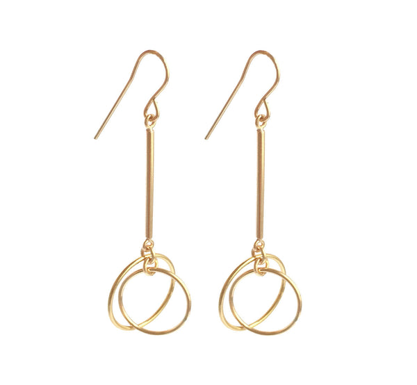 Bar Earring with Double Small Ring - Gold, Silver >>