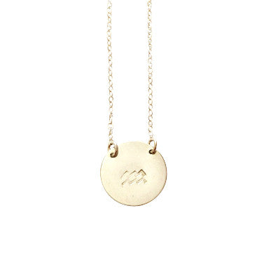 Zodiac Necklace - AQUARIUS - Jan 21 - Feb 19 - Gold, Silver, Rose Gold >>