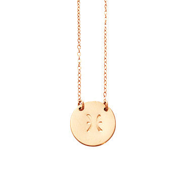 Zodiac Disc Necklace - PISCES - Feb 20 - Mar 20 - Gold, Silver, Rose Gold