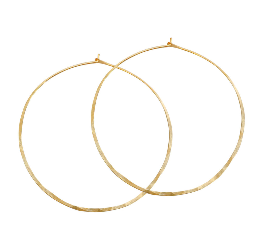Hammered Hoop Large Earrings - Gold, Silver, Rose Gold >>