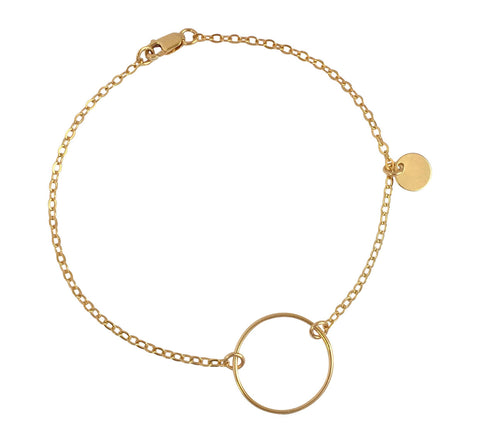 The Izzy Bracelet - Open Ring on Chain Bracelet- Gold, Silver >>