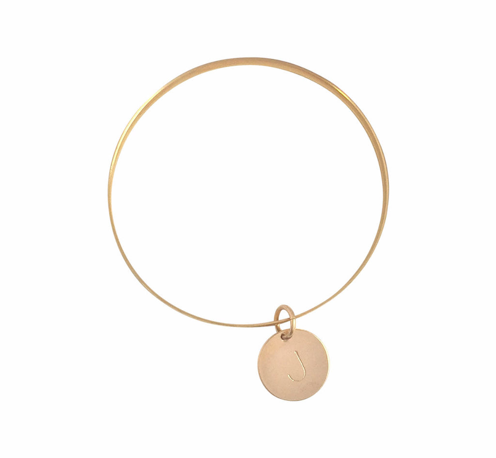 The Janie - Thick Bangle with Disc - Gold  >>
