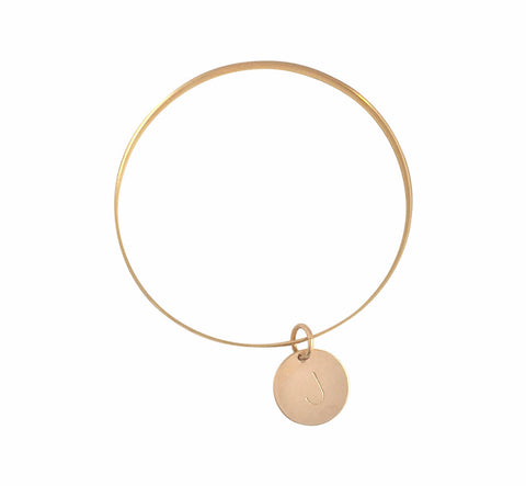 The Janie - Thick Bangle with Disc in Gold