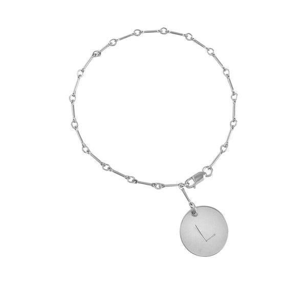 Bar Chain with Silver Large Disc Bracelet