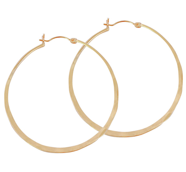 Hinged Hammered Hoop Earrings in Gold Color