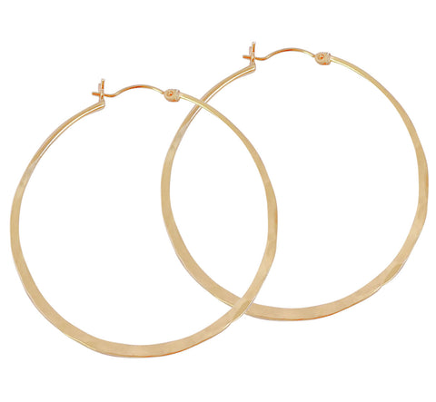 Hinged Hammered Hoop Earrings - Gold, Silver >>