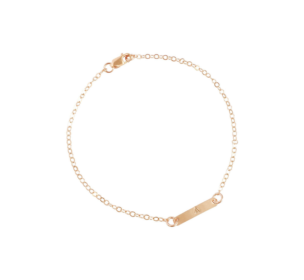 The Maya - Mini Bar Initial Bracelet - Gold, Silver, Rose Gold >>