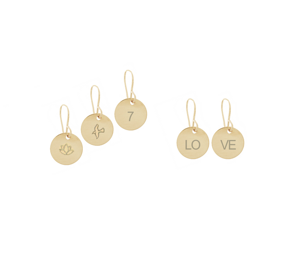 Mini Disc Earrings in Gold Color