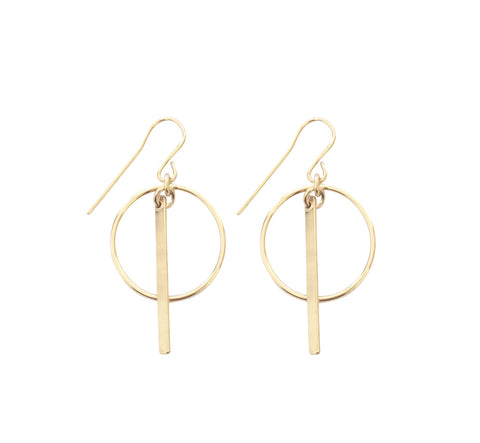 Ring and Bar Earrings - Gold, Silver >>