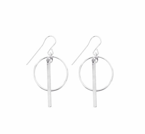 Ring and Bar Earrings in Silver Color