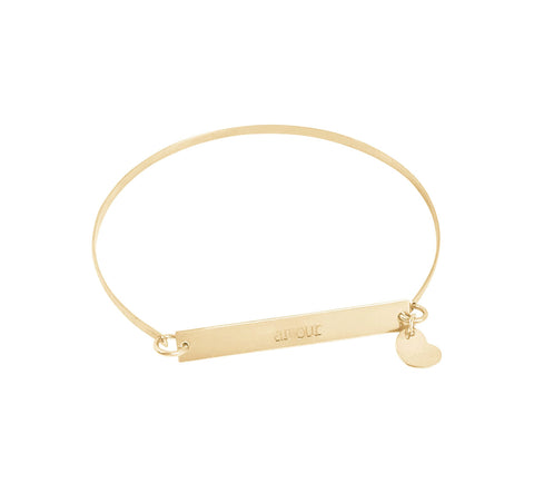 Romy Gold Bangle with Skinny Bar & Heart