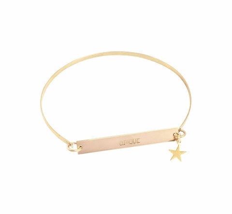 Romy Bangle - Skinny Bar on Bangle with Star - Gold, Silver >>