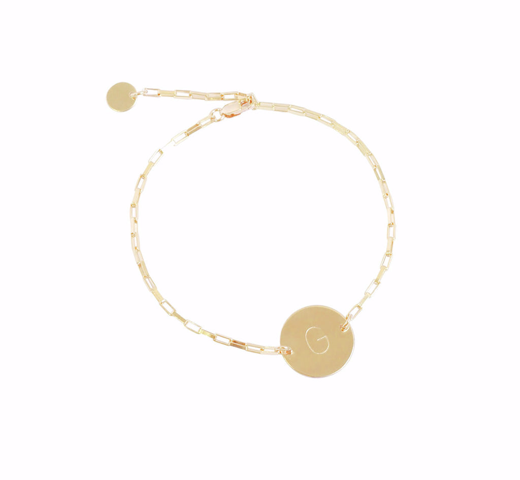 The Sienna -  Initial Disc on Box Chain Bracelet - Gold, Silver >>