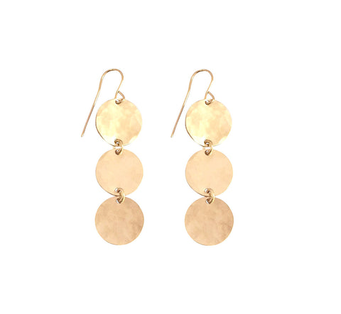 Triple Classic Earring Hammered in Gold, Silver, Rose Gold