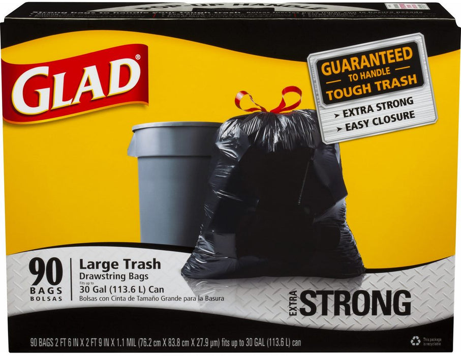 Glad Drawstring Large Trash Bags, 30 Gallons, 90 ct