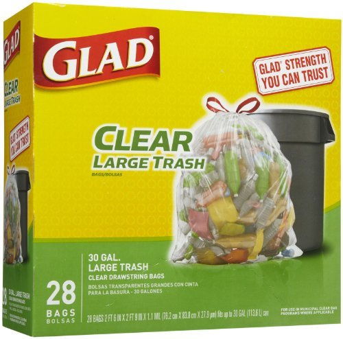 Glad Large Trash Bags, 30 Gallons, 28 ct