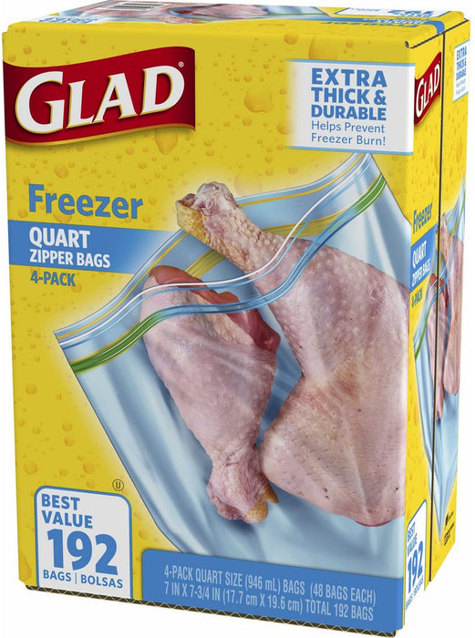 Glad Freezer Quart Zipper Bags Value Pack, Extra Thick and Durable, 4 x 48 ct