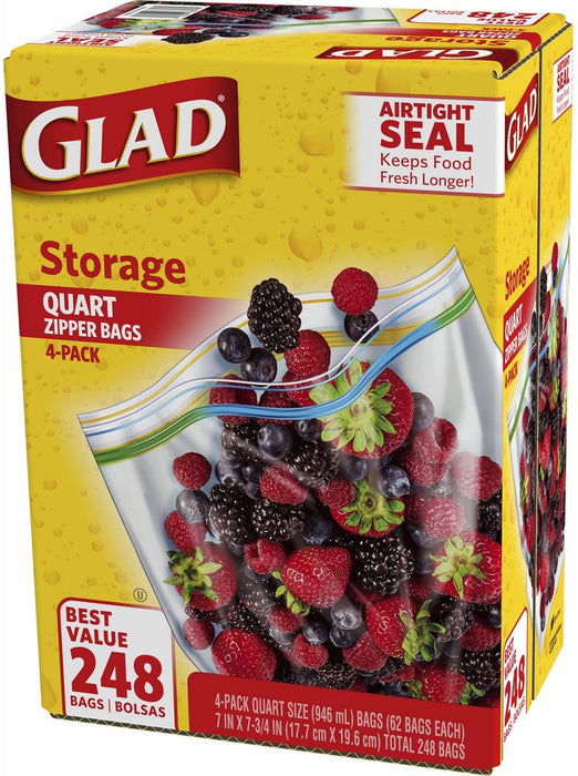 Glad Storage Quart Zipper Bags, Airtight Seal , 4 x 62 ct